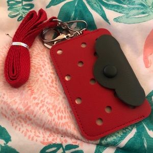 Strawberry cardholder with keychain and lanyard